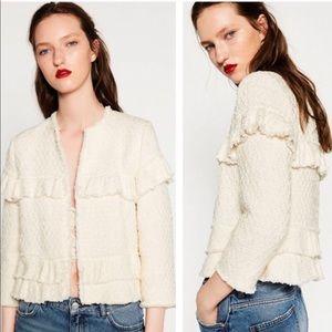 Zara Ruffled Tweed Blazer